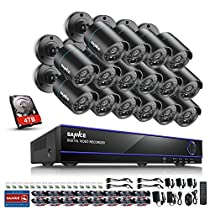 SANNCE 16CH DVR (16) 720P HD CCTV Camera Security System Motion Detection Alarm & Remote View Night Vision Outdoor Security Camera System(4TB HDD Included)