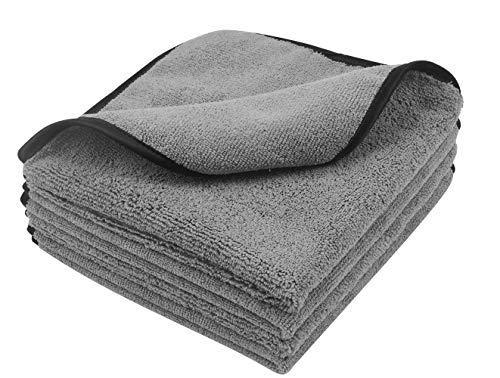 KinHwa Car Towels Microfiber Drying Dual Weave Automotive Wash Towel Auto Detailing Cleaning Cloth Scratch Free 400gsm 16Inch x 16Inch 4 Pack Grey ()