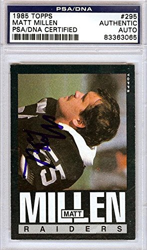 Matt Millen Autographed Signed 1985 Topps Card #295 Raiders 83363065 - PSA/DNA Certified - NFL Autographed Football Cards
