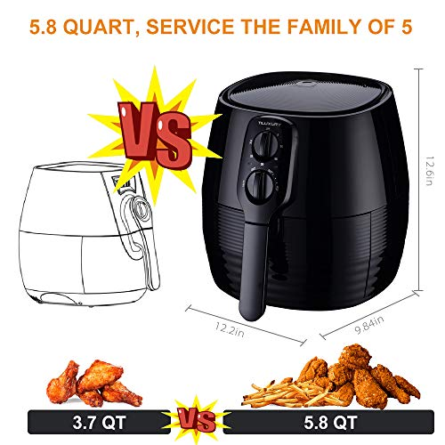 Air Fryer XL, 5.8Qt Electric Hot Airfryer Oven Oilless Cooker with Detachable Nonstick Basket, Timer Temperature Control, Dishwasher Safe, Auto Shut Off and Memory Function, W 50 Recipes, 1400W