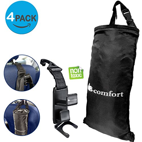 B-comfort 2 Car Trash Bags & 2 Headrest Hooks-Purse,Backpack,Handbags,Grocery Bags Hanger+FREE Bottle Holders-Hanging Garbage Can-Waste Container-Front-Back Seat Storage Organizer-Truck-SUV