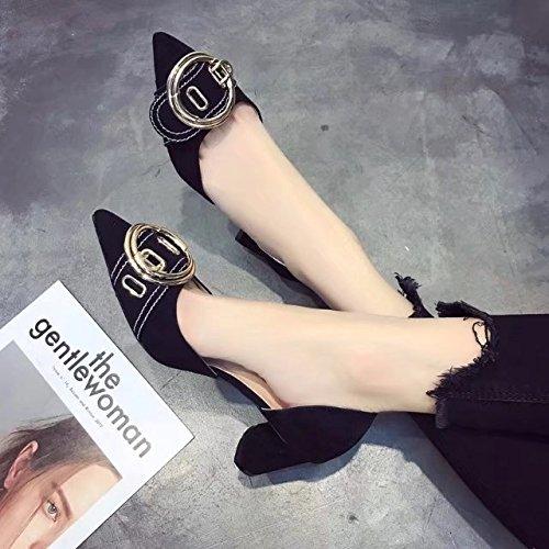 y sandalias de los con gruesa solo satén mujer Abrazadera Luz zapatos 38 partido Qiqi y de Xue punta un de negro zapatos alto redonda para de tacón n0aXUwq