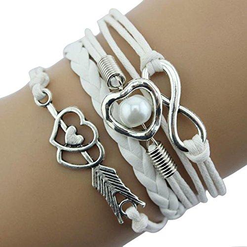 - ManxiVoo Stunning Woven Bracelet Cupid Arrows Infinity Love Heart Pearl Friendship Antique Leather Charm Bracelet (White)