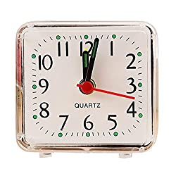 Yeefant Square Small Bed Compact Quartz Clock Cute Portable Student Clock Decor for Living Room Bedroom,White