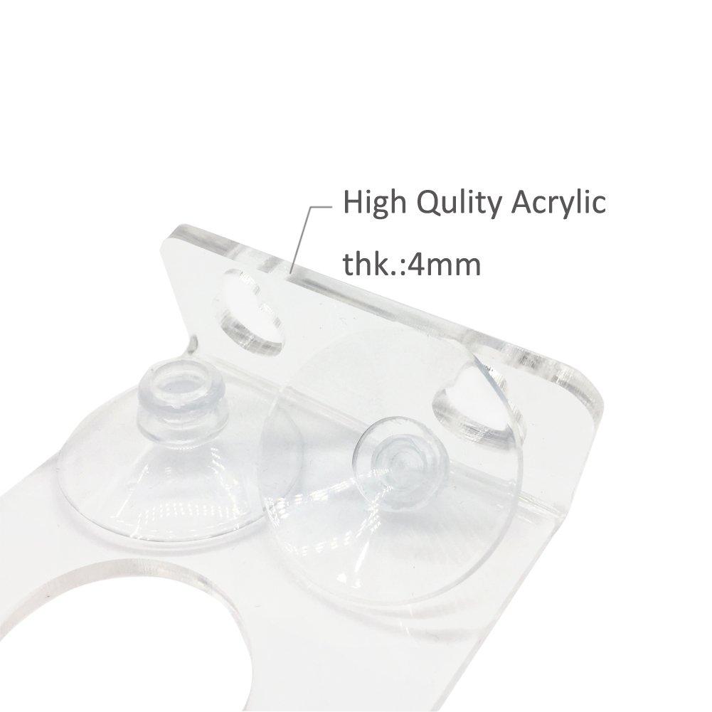 with Double Powerful Suction Cups,Clear Acrylic 2PCS HK5-2PCS MIBOW Bathtub Wine Glass Holder,Shower Suction Cups holder,Suction Cups Acrylic stand
