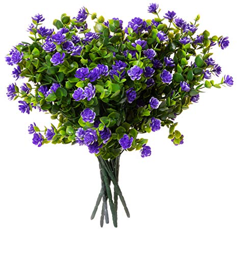 Red Co. Faux Floral Bouquet, Artificial Fake Greenery Flowers for Home and Outdoor Garden Decor, 6 Single Picks, Spring Purple from Red Co.
