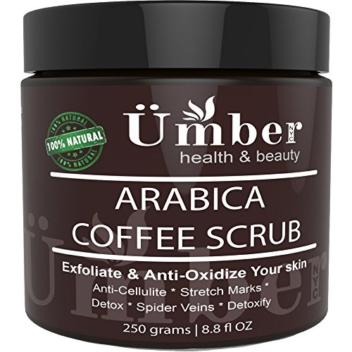 Premium 100% Natural Arabica Coffee Body Scrub with Organic Coffee, Shea Butter, Coconut Oil and Dead Sea Salt - Anti Cellulite, Stretch Marks, Spider Vain Treatment by Umber NYC (8.8 oz.)