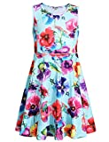 Jxstar Flower Summer Girl Casual Dress Floral Printed Sleeveless Holiday Little