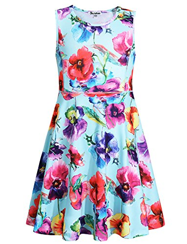 Jxstar Flower Summer Girl Casual Dress Floral Printed Sleeveless Holiday (Dresses For Teenage Girls Cheap)