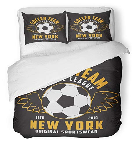 Emvency 3 Piece Duvet Cover Set Breathable Brushed Microfiber Fabric Badge Soccer Sports with Football Ball with Wings Emblem for Athletic Champion Bedding Set with 2 Pillow Covers Twin Size by Emvency