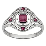 10k White Gold Vintage Style Genuine Ruby and Diamond Ring