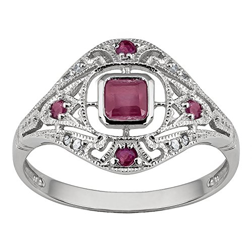 Ruby Antique Style Ring - 10k White Gold Vintage Style Genuine Ruby and Diamond Ring