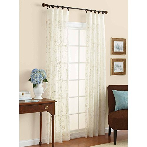 embroidered sheer curtain panel