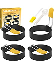 Egg Ring,4 Pack Non Stick Egg Ring Mold Stainless Steel Anti-Scald Egg Rings for Egg Mcmuffins,Pancake,Sandwich,Breakfast Household Kitchen Cooking Tools (with Silicone Brush+Egg Separator) - Lnichot