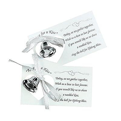 50 x Silvertone Wedding Bell on A Card