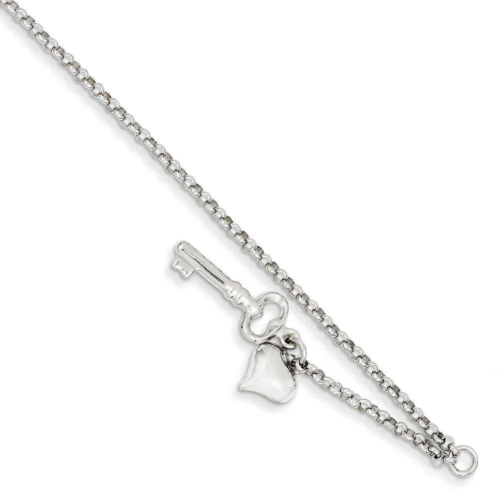 14k White Gold Adjustable Polished Puffed Heart & Key Anklet