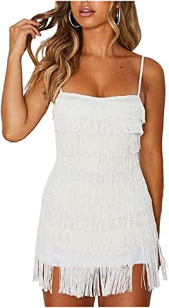 L'VOW 1920s Gatsby Flapper Dress Backless Bodycon Fringed Party Mini Dresses for Women