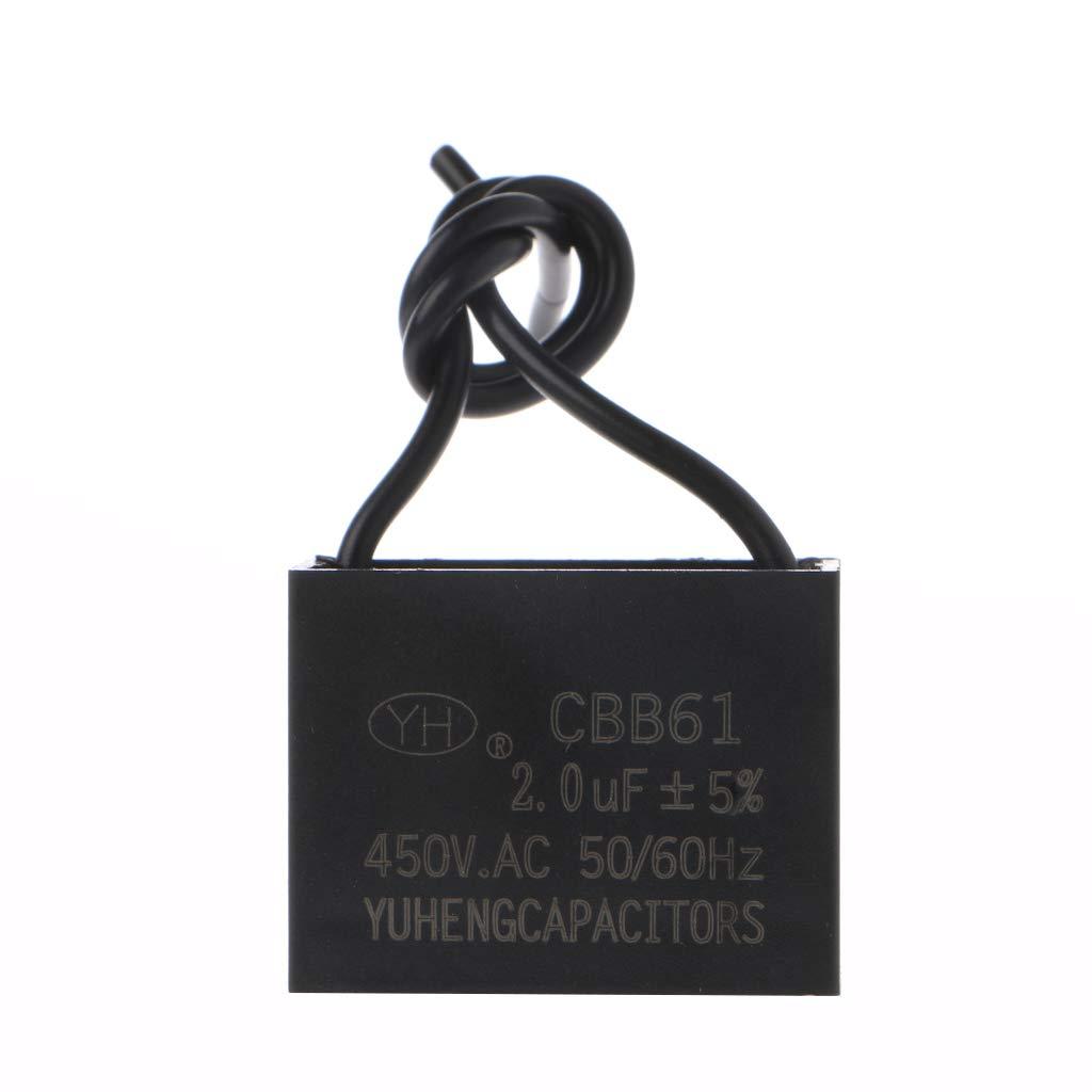 JENOR CBB61 - Condensador de arranque para ventilador de techo (450 V, 1/2/3/4/5/6/10 uF), 2, 1