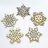 Yunko Set of 5 Wood Snowflake Coasters Christmas Cup Mat