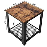 SONGMICS Vintage End Table, 2-Tier Side Table with Storage Shelf for Living Room, Wood Look Accent Furniture with Metal Frame, Easy Assembly ULET41X Variant Image