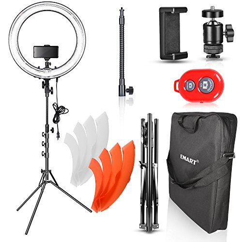 le Ring Light Photography with Stand, 75W Fluorescent Flash Circle Makeup Lighting Kit for Camera Photo Studio, YouTube Video Shooting, iPhone Selfie – Standing Ring Light ()