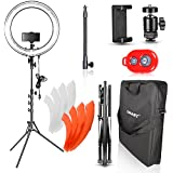 Emart 18 inch Dimmable Ring Light Photography with Stand, 75W Fluorescent Flash Circle Makeup Lighting Kit for Camera Photo Studio, YouTube Video Shooting, iPhone Selfie – Standing Ring Light