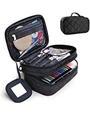 Travel Cosmetic Makeup Bag, MOTYYA Portable Double Layer Versatile Makeup Pouch Toiletry Organiser Nylon Tote Zipper Small Storage Case With Mirror for Women