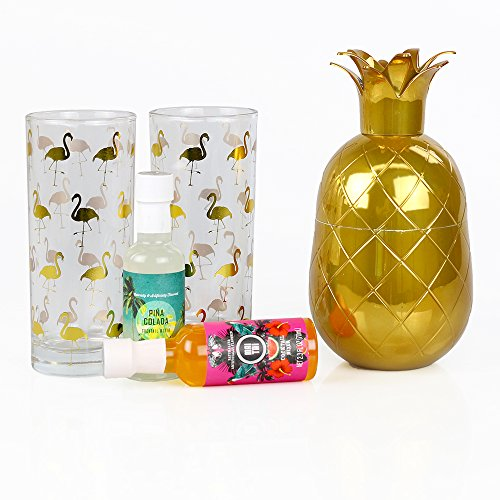 - 'Tropical Party Pack' Gift Set: Pineapple Edition | Includes 2 Highball Glasses, Pina Colada Drink Mix, Mango Cocktail Mix & a Gold Pineapple Shaker
