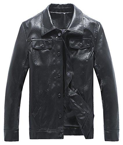 QZUnique Men's Fashion Slim Fit Lapel Collar Motorcycle Leather Jacket US M