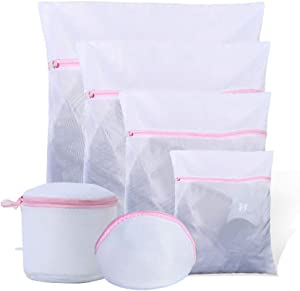 6PCS Mesh Laundry Bags for Delicates with Premium Zipper, Travel Storage Organize Bag, Clothing Washing Bags for Laundry, Blouse, Bra, Hosiery, Stocking, Underwear, Lingerie