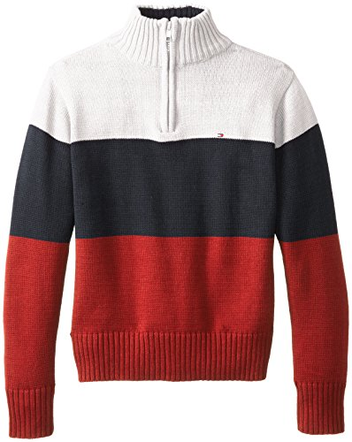 Tommy Hilfiger Big Boys' Dominic Striped 1/4 Zip Sweater, Ivory Cream, Small (1/4 Zip Striped Sweater)