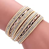 Welcomeuni Unsixe Bohemian Bracelet Wrap Cuff Magnetic Clasp Leather Bangle (Gold)