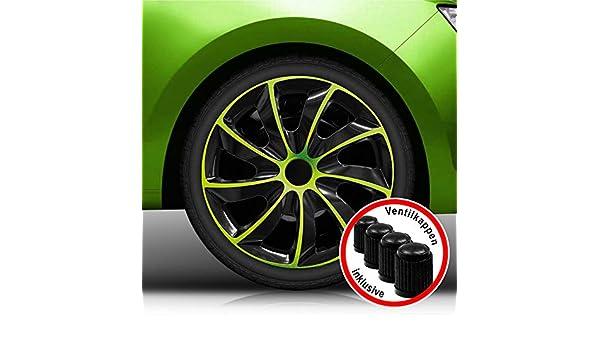 Tapacubos de Koenig Quad bicolor en negro/verde universal de Tapacubo (BIC verde 15 pulgadas, universal): Amazon.es: Coche y moto