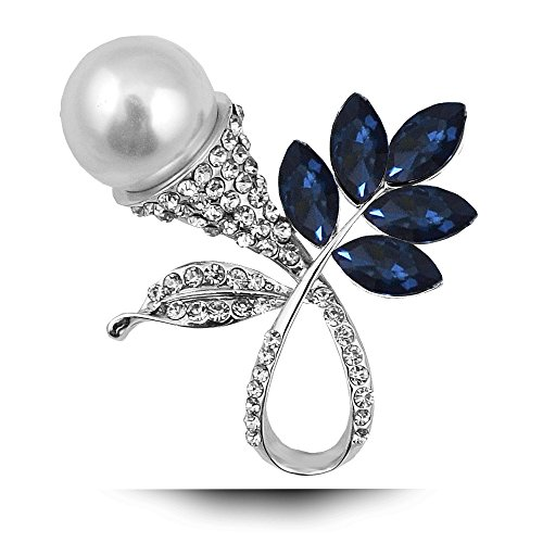 Wcysin Pearl Brooch Pins Cute Crystal Brooch for Wedding Business Work Daily (Blue)