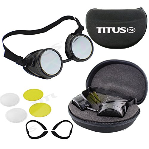 TITUS Tinted Goggles Full Kit Storage Case Industrial Steampunk Style Safety ANSI Z87.1 Protective Filter Shade EN175 - Sunglass Rage Coupon