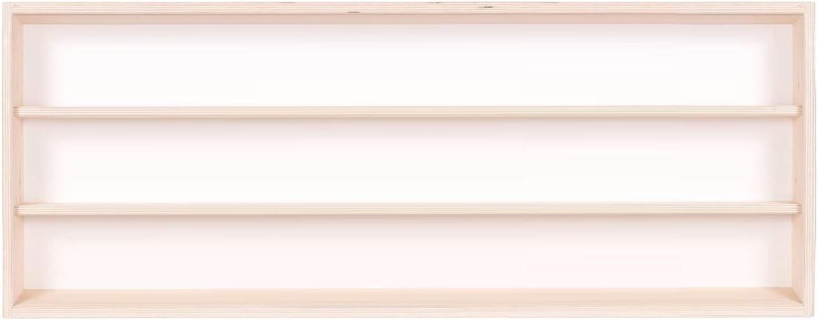 Alsino V70.3 Vitrine dexposition 70 x 30 x 8,5 cm en Bois de Bouleau Non trait/é avec 3 /étag/ères 2 Portes coulissantes en plexiglas