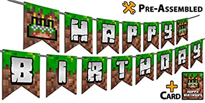 Pixel Style Happy Birthday Banner - Pre-Assembled, 2-Side Printed HD Color Pixelated Party Design. Bonus Birthday Card. Huge Paper Pennants. Gamer Boys Party Supplies
