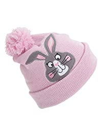 Childrens Girls Animal Design Glitter Winter Beanie Hat With Pom Pom (One Size) (Pink (Rabbit))