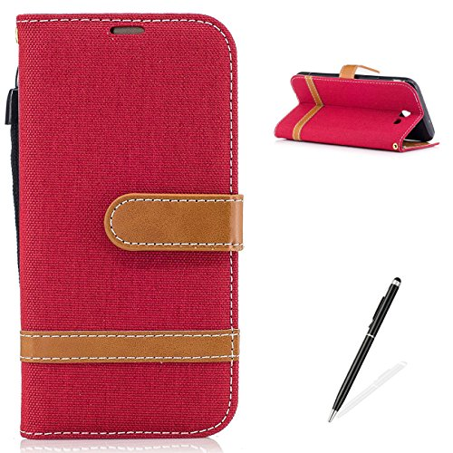 MAGQI Samsung Galaxy J7 2017 Wallet Flip Case,Cowboy Retro Splice Color Fabrics Denim PU Leather Belt Clip Card Holder Magnetic Closure Bookstyle Full Body Protection Shell-Red