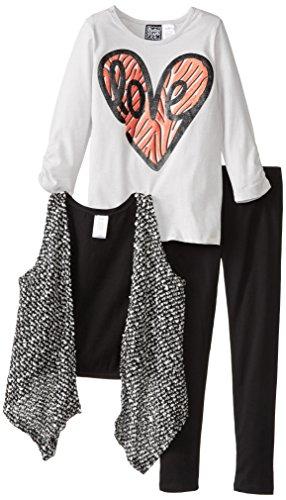Pogo Club Little Girls' Mary Popcorn 3 Piece Vest Set, Black, Large