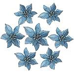 Lumpna-20pcs-Artificial-Poinsettia-Floral-Heads-Artificial-Wedding-Christmas-Flowers-Xmas-Tree-Wreaths-Decor-Ornament-Fake-Hanging-Vine-Swag-Decorative-Blue