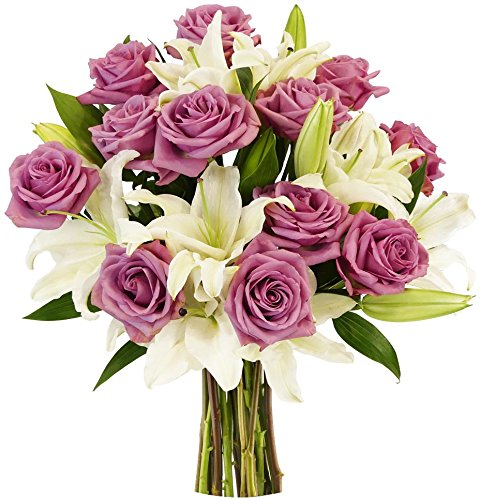 Benchmark Bouquets Lavender Roses and White Oriental Lilies, No Vase