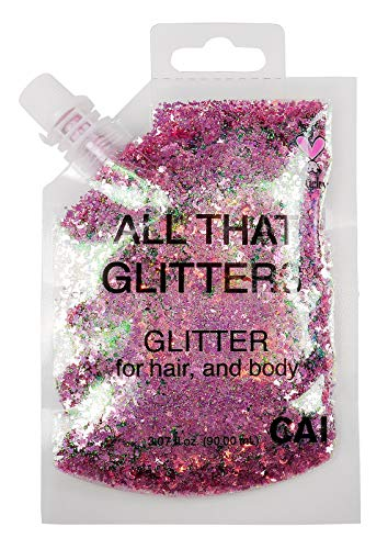 CAI BEAUTY NYC Rose Gold Pink Glitter | Easy to Apply, Easy to Remove Chunky Glitter for Body, Face and Hair | Bag Pouch | Holographic Cosmetic Grade Glamour