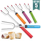 """Cheap Langdeng Marshmallow Roasting Sticks,Extendable 34"""" Telescoping Stainless Steel Forks,Set of 5 in Multi-color and Used in Fire Pit, Camping, Campfire, Bonfire Kids.Great for Marshmallow,Hot Dogs and"""