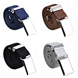 4PCS Kids Boys Elastic Buckle Belt - Adjustable Belt with Silver Square Buckle(Navy Blue/Brown/ Black/Grey)