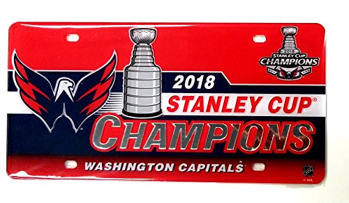 (Stockdale Washington Capitals 2018 Champions SD Laser Tag Premium Acrylic Inlaid License Plate Hockey Stanley Cup)
