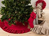 Geneviève Ruffled Design Cotton Holiday Christmas Tree Skirt, One Piece (Natural)