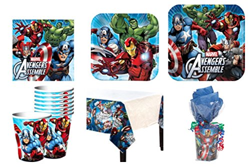 Avengers Party Supplies Standard Kit for 16 *Free Gift*