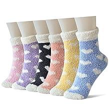 Skola Women's 6 Patterned Super Soft Cozy Fuzzy Winter Warm Slipper Home Socks