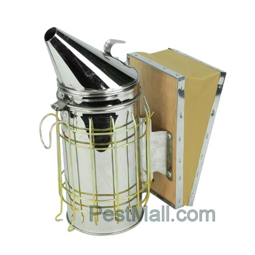 Bee Hive Smoker Stainless Steel -Medium w/Heat Shield Beekeeping Equipment Bee Smoker from Eco-keeper (Grill Stainless Perforated Steel Plate)